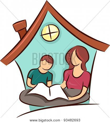 Illustration of a Mother Teaching Her Young Son at Home