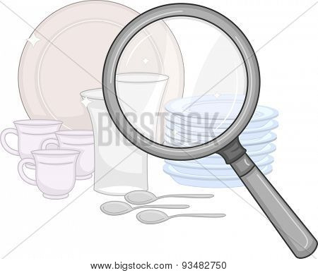 Illustration of a Magnifying Glass Being Used to Check the Cleanliness of Plates