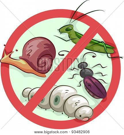 Illustration of a Sign Barring Common Garden Pests