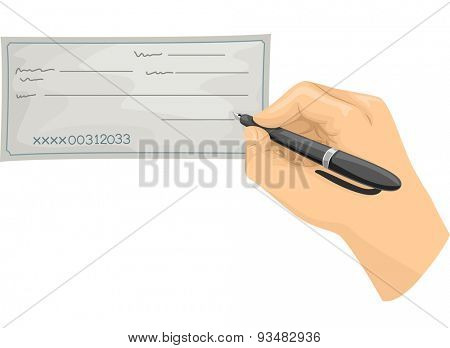 Cropped Illustration of a Hand Signing a Blank Check