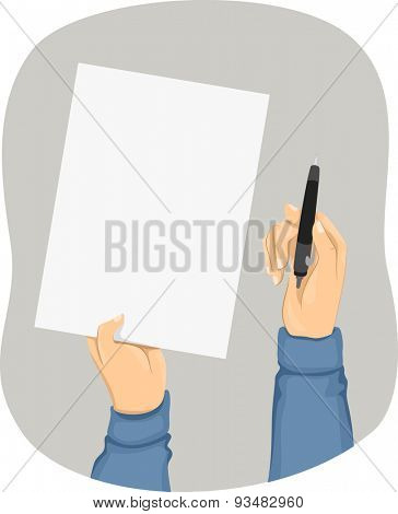 Cropped Illustration of a Person Holding a Piece of Paper in One Hand and a Pen in the Other