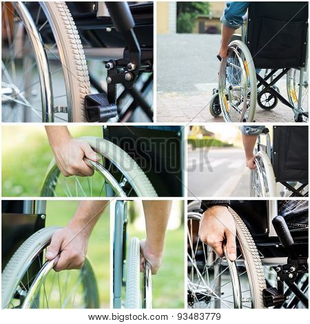 Details of paralyzed people using a wheelchair