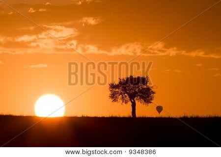 Masai Mara Sunrise With Distant Hot Air Balloon
