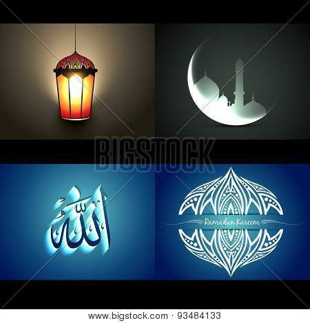 vector set of attractive background of ramadan kareem festival