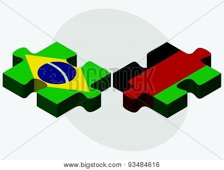 Brazil And Afghanistan Flags In Puzzle