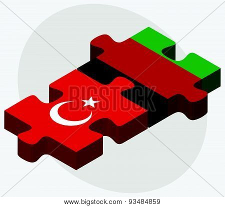 Turkey And Afghanistan Flags In Puzzle