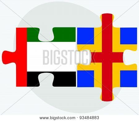 United Arab Emirates And Aaland Islands Flags