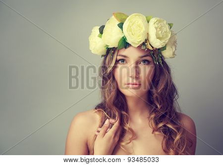 Woman with Wreath of Flowers