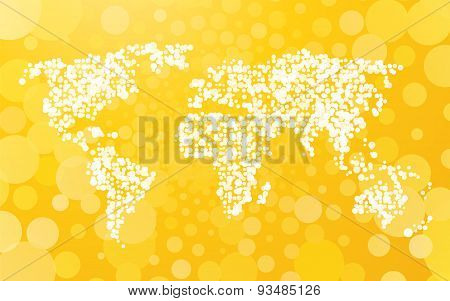 World Map Made Of Small Dots On A Yellow Background With Bubbles
