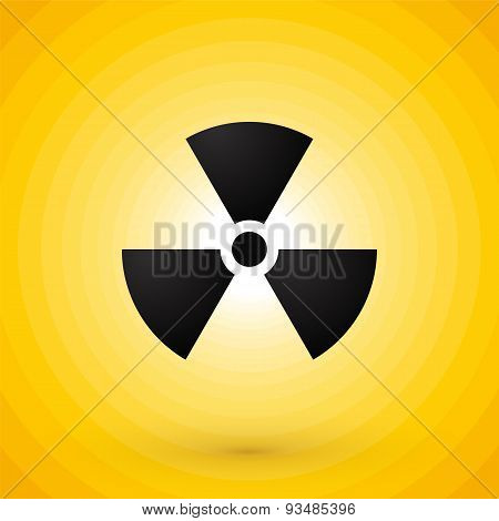 Nuclear Symbol On Yellow Background