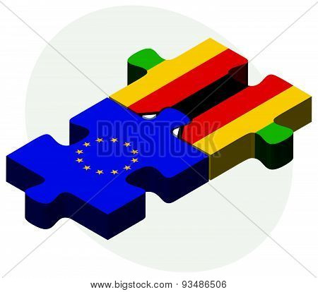 European Union And Zimbabwe Flags
