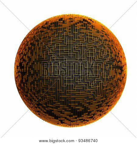 Golden labyrinth planet, maze with spherical shape 3d illustration, isolated on white background