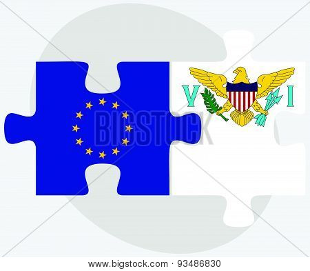European Union And Virgin Islands (u.s.) Flags
