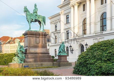 City Hall Altona with William I, German emperor equestrian statue