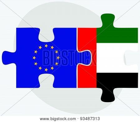 European Union And United Arab Emirates Flags