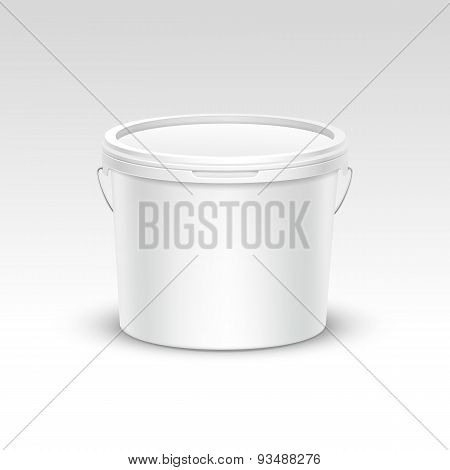 Vector Blank Plastic Bucket Container Packaging