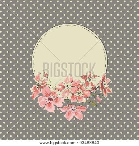 Vintage floral round frame
