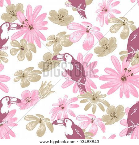Tropical summer seamless pattern, flowers and birds