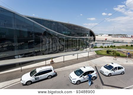 Taxis At The Airport Of Valencia
