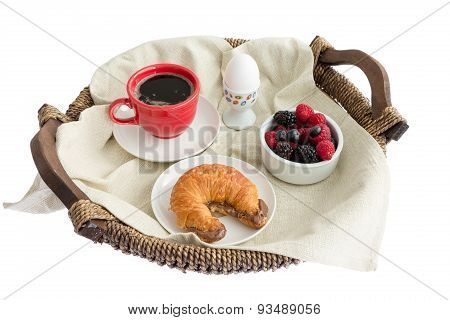 Appetizing Food On Rustic Breakfast Tray