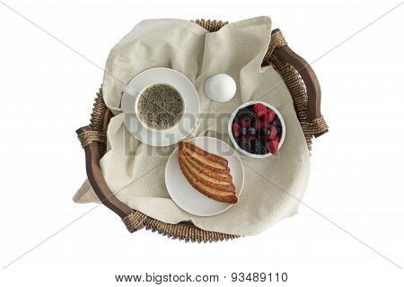 Tasty Breakfast For One On A Rustic Wicker Tray
