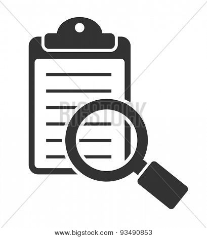 magnifying glass icon with checklist - business concept