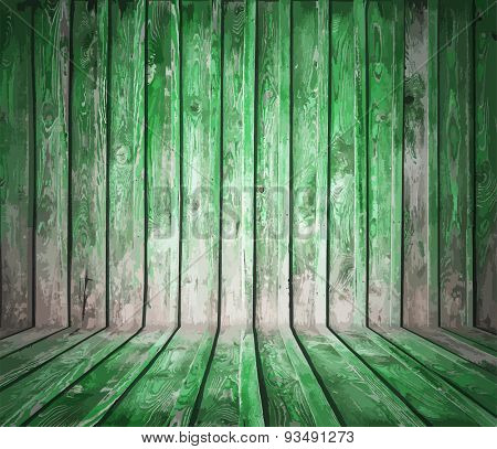 painted old wooden wall. green room, vector