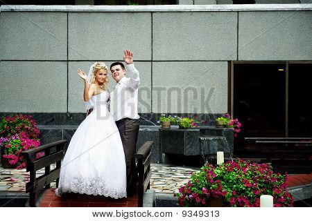 Happy Bride And Groom In Beautiful Interiors Of Luxury Hotel