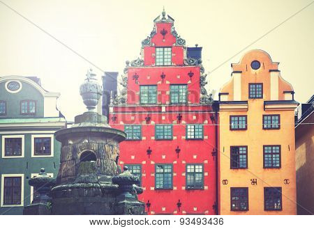 Stortorget square in Stockholm. Retro style filtred image