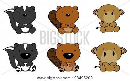 cute baby animals cartoon set