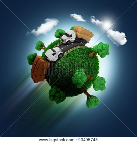 3D render of a grassy globe with trucks and trees zooming through a blue sky background