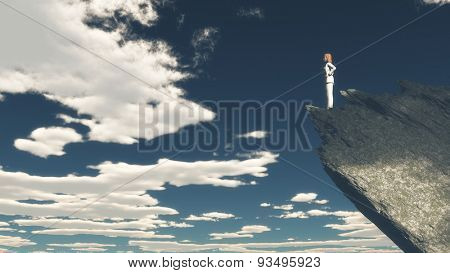 3D render of a female figure stood on a mountain top - figure is a 3d rendered figure