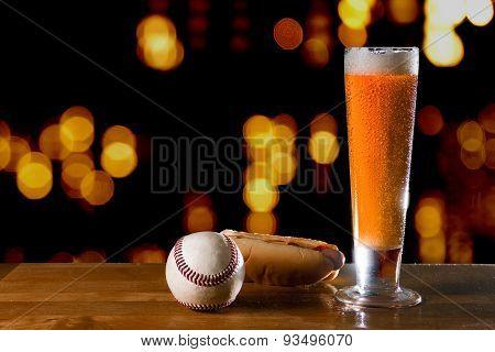 Beer Baseball and Hotdog