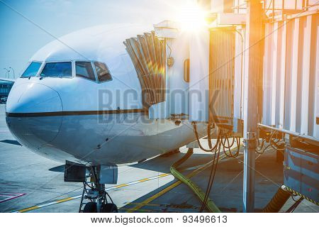Docked Airplane Jet Bridge