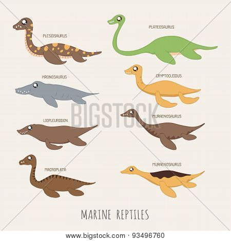 Set Of Marine Repitles Dinosaurs