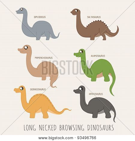 Set Of Long Necked Browsing Dinosaurs