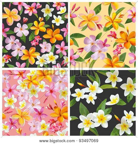 Set of Tropical Flowers Background - Vintage Seamless Pattern - in vector