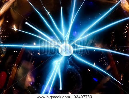 Electric blue beam spread from the middle ball Science dignitaries