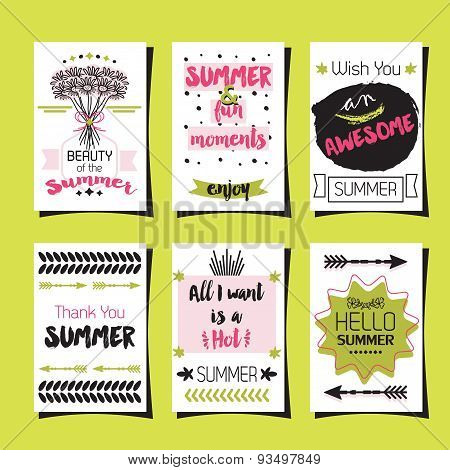 Summer greetings journaling template cards set on green background