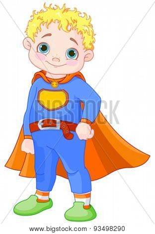Illustration of super hero boy