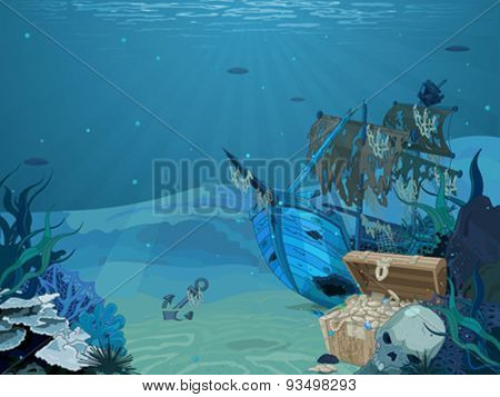 Illustration of sunken sailboat on seabed background
