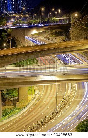 Highway road at night, hong kong