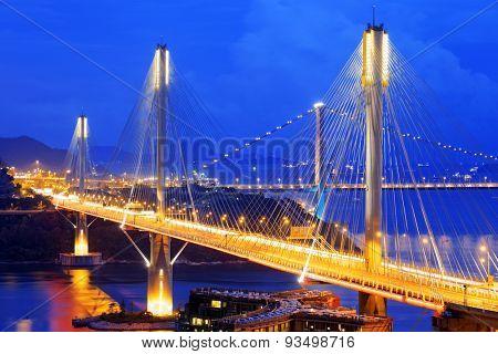 highway bridge at night with traces of light traffic, Ting Kau bridge at hong kong.