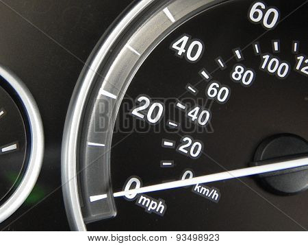 Car dashboard speedometer closeup