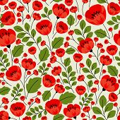 stock photo of poppy flower  - Red poppies seamless pattern in retro style with poppy flowers - JPG