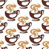 stock photo of steam  - Hot coffee or chocolate seamless pattern with steaming brown cups on white background in sketch style - JPG