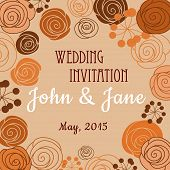 stock photo of buttercup  - Wedding invitation or card design template in brown orange pastel colors with floral border composed of stylized blooming roses - JPG