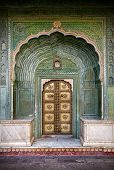 foto of rajasthani  - Green gate and golden door in City Palace of Jaipur Rajasthan India - JPG