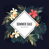 stock photo of hawaiian flower  - Summer tropical hawaiian sale background with palm tree leavs and exotic flowers - JPG