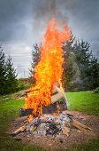 picture of bonfire  - Burning furniture on a big bonfire - JPG